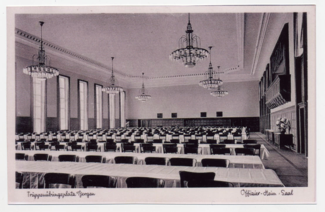 Postcard of the banquet hall in the officers' mess of the Belsen military base, inaugurated in December 1937. From the collection of Hinrich Baumann.