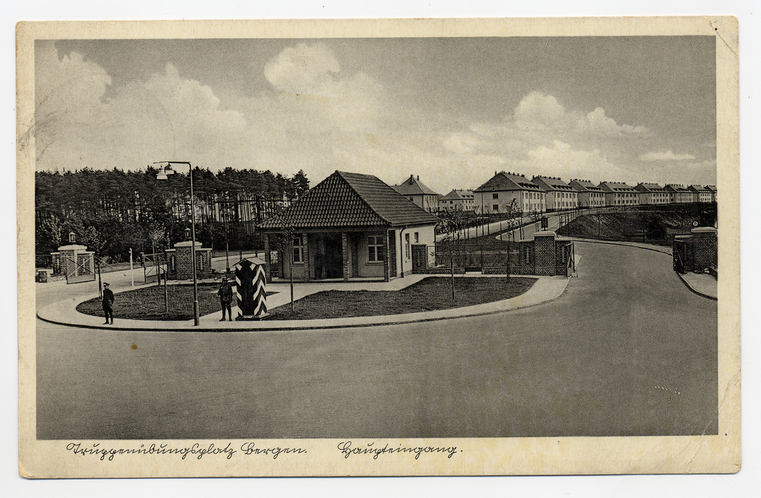 Postcard with the main guard house at the Belsen military base, 1936. From the collection of Hinrich Baumann.