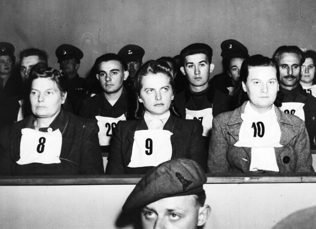 Defendants Hertha Ehlert, Irma Grese and Ilse Lothe (from left to right), 17 September 1945 . Associated Press, Frankfurt am Main.
