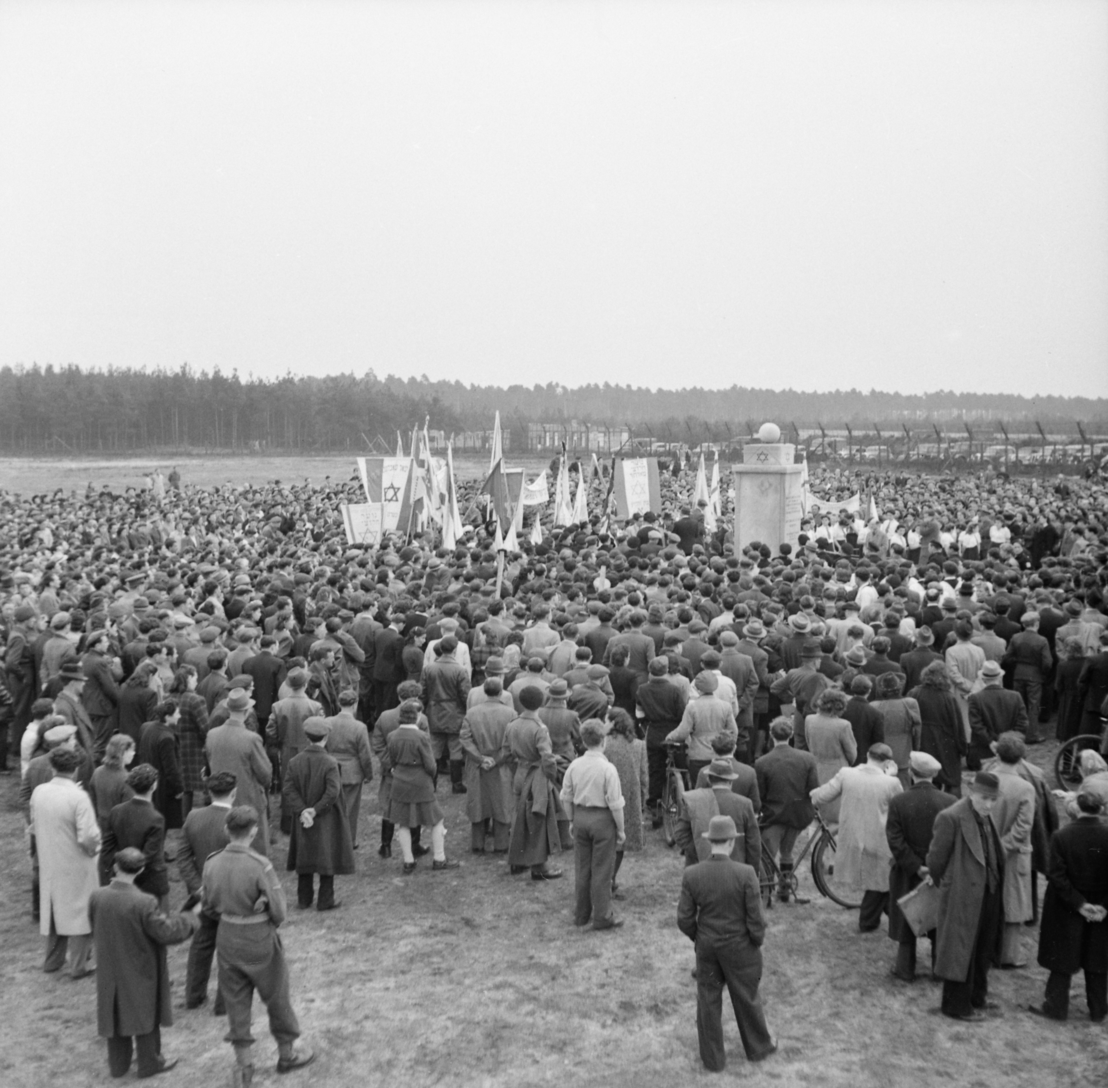 Dedication of the Jewish monument on the first anniversary of the liberation, 15 April 1946. Imperial War Museum, London, Photograph Archive, BU 12581.
