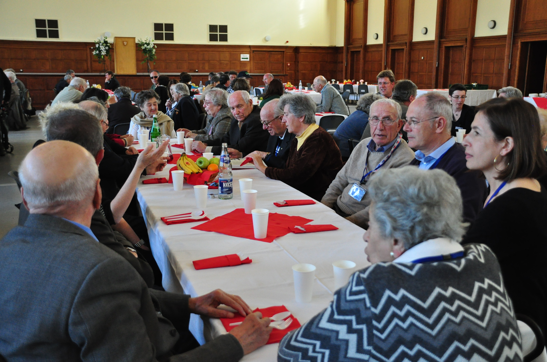 Survivors and their relatives at the ceremony for the 65th anniversary of the liberation in the banquet hall of the former Wehrmacht officers' mess, 18 April 2010. Photo by Helge Krückeberg. Bergen-Belsen Memorial (Lower Saxony Memorials Foundation)