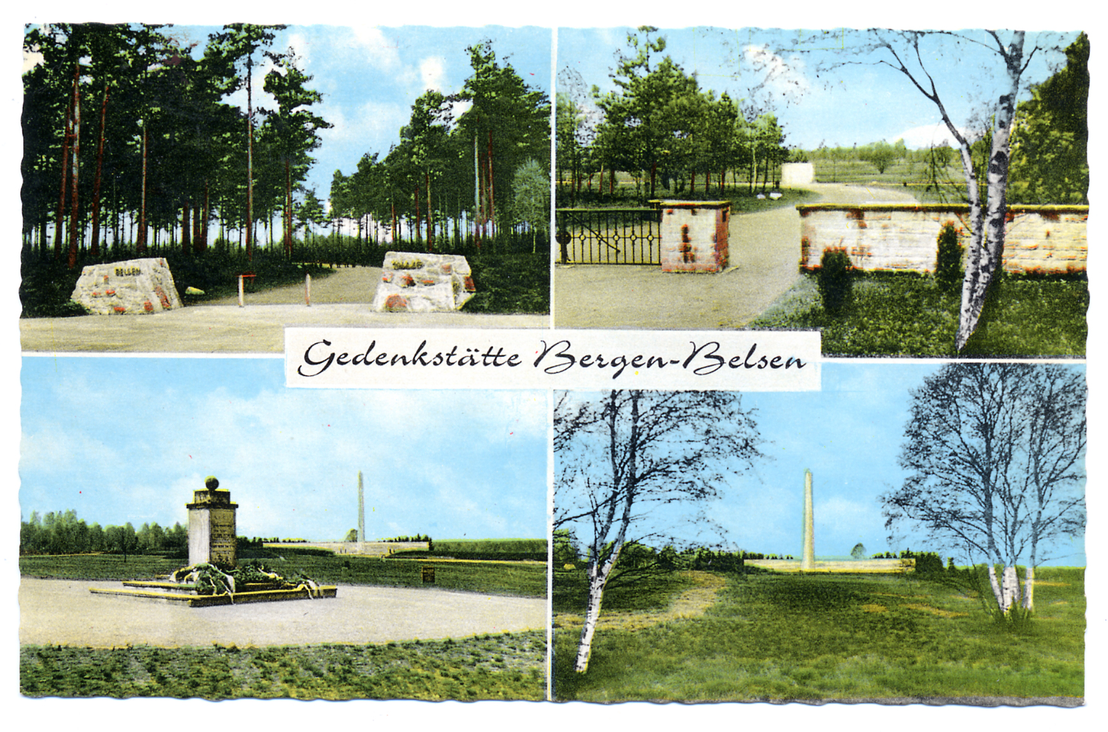 Postcard with images of the Bergen-Belsen Memorial: Approach, entrance gate, Jewish monument and inscription wall with obelisk, probably taken between 1961 and 1964. Bergen-Belsen Memorial (Lower Saxony Memorials Foundation)