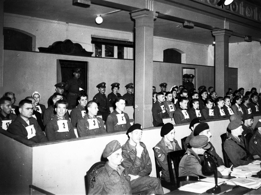 The defendants in the first Belsen Trial, 17 September 1945. Associated Press, Frankfurt am Main.